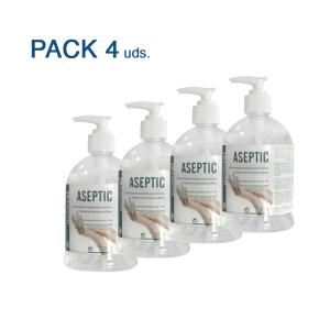 vista general de pack de 4 hidroalcoholico autorizado aemps
