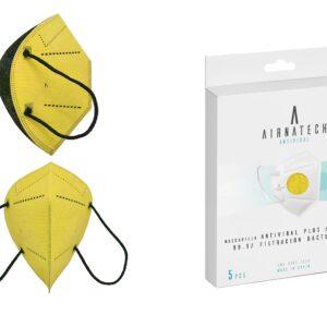 vista general de mascarilla higienica española reutilizable plus con filtracion 99,9% y 20 lavados en pack de 5unds color amarillo
