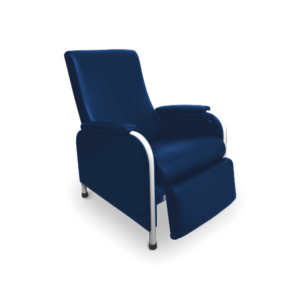 vista general de sillon relax articulado de piel sintetica azul tratamiento de pacientes