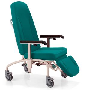 vista general de cama de reposo relax para geriatricos y hospitales color turquesa