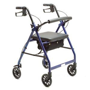 vista completa de andador rolator ligero plegable de teyder azul