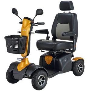 vista de lado scooter dakar color naranja de teyder con gran potencia y diseño deportivo