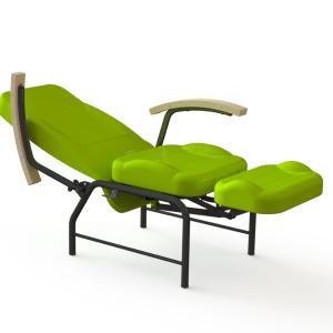 vista general de sillon relax articulado premium verde con reposabrazos de madera acostado perfecto para hospitales