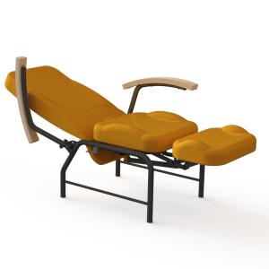 vista general de sillon relax articulado premium acostado con reposabrazos de madera perfecto para hospitales