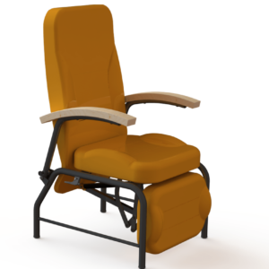 vista general de sillon relax articulado premium con reposabrazos de madera perfecto para hospitales