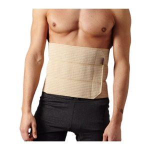 vista general torso de hombre con faja contención 3 bandas beige