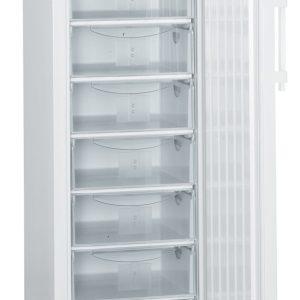 Vista completa de congelador laboratorio Liebherr LGex 3410 vista frontar con puerta abierta
