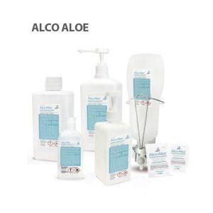 Vista general de los envases de gel hidroalcohólico Alco Aloe