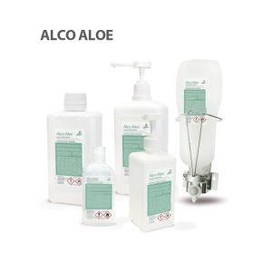 Vista general de los envases de Solución Hidroalcohólico Alco Aloe