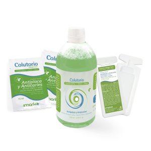 vista general de los tipos de enjuague bucal contiene clorhexidina, xilitol y flúor de color verde