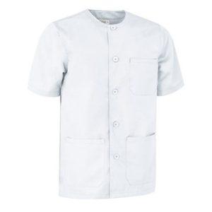 pijama cuello redondo de botones ideal para residentes blanco